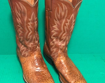 Justin of Ft. Worth, Texas Exotic Skin and Leather Cowboy Boots. Size 10-10.5 Western Wear