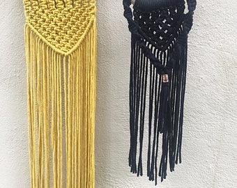 Mustard wall hanging and Black Wall hanging Coper Cord Macrame Wallhanging
