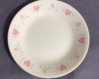 "Vintage Corelle by Corning Forever Yours Bread / Dessert Plate Pink Heart Theme 6 3/4"" diameter"