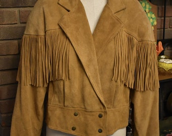 Vintage 80's FRINGE, double breasted, cropped, Buff color SUEDE Jacket by AVON Fashions