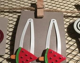 Watermelon Girls hair clips, snap hair clips, button hair clips
