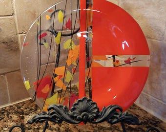 """10.5"""" Orange Confetti Fused Glass Plate"""