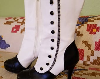 Gothic Victorian Black and White Boots Heels - Size 10