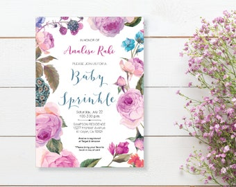Baby Sprinkle Invitation. Instant Download. Printable Baby Shower Invite. Pink and Purple Flowers. - 01