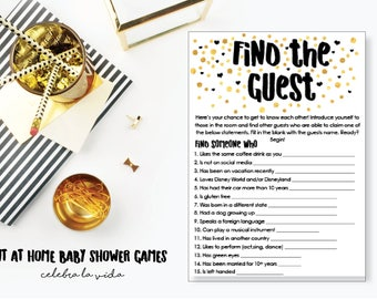 Find the Guest Baby Shower Game. Instant Download. Printable Baby Shower Gender Neutral Game. Gold and Black.
