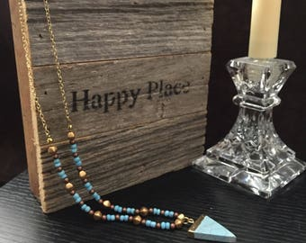 Light Blue Triangle Beaded Necklace
