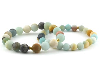Amazonite Stack Bracelet Set, 8mm, 10mm, Matte Beads, Frosted Beads, Variety of Colors, Gemstone Bracelet
