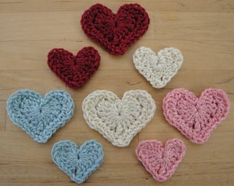 Crocheted Hearts - Handmade Crocheted Hearts: Vintage, Traditional or Muted Shades