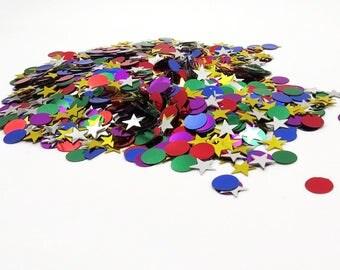 Metallic Confetti. Star Confetti. Gold Star Confetti, Silver Star Confetti. Party Supplies.