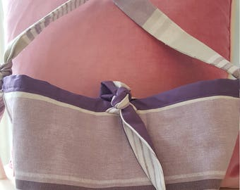 Pretty Purple and Beige Stripe Print bag, handbag, Hobo bag