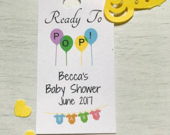 personalised babyshower thank you tags (ready to pop)