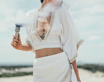 Lost Lorelei White Siren Wrap Skirt