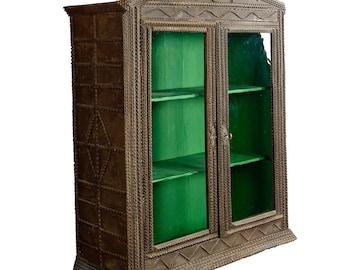 antique tramp art cabinet ca. 1900