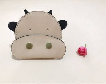 100% Handmade Cute Cow Patter Coin Purse, Leather Card Case,Gift for Her
