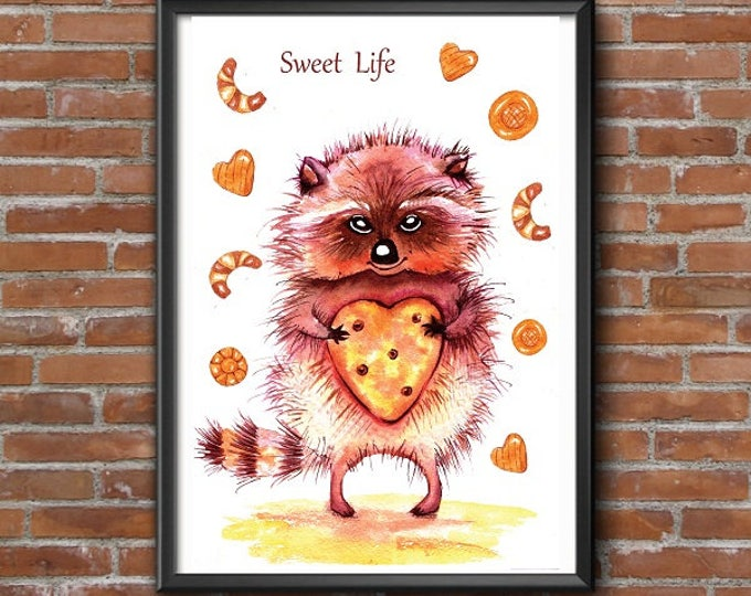 Printable poster Printing for gifts Home decor Wall Art Digital Print Watercolor illustration Raccoon sweet tooth
