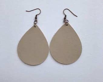 The Morgan/Cream Teardrop Leather Earrings