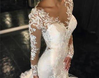 Mermaid Long Sleeves Wedding Gown