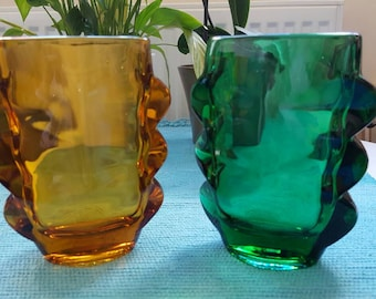 Vintage Sklo Union Czech Glass Rosie Vases Vintage Decor