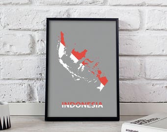 Indonesia art Country Map poster Indonesia poster wall art wall decor print