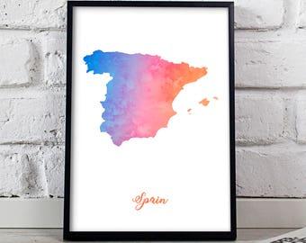 Spain print Spain poster Spain art Watercolor Spain Map poster wall art Spain wall decor Gift poster