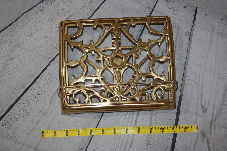 antique brass book stand easel gold vintage holder rack