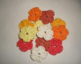 Set of 12 mini crochet flowers