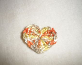 Set of six crochet hearts
