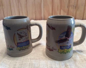 Vintage Pair of 1980's Anheuser-Busch Beer Steins