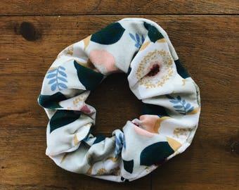 sage green floral scrunchie