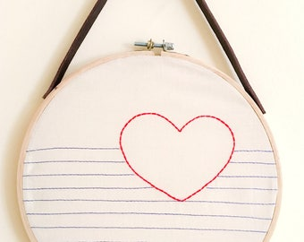 Embroidery hoop frame * Navy heart