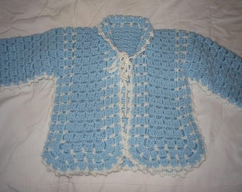 Crochet  Blue and White Baby Sweater 12 - 24 months