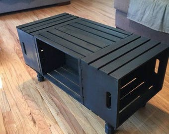 Rustic, country wooden crate coffee table