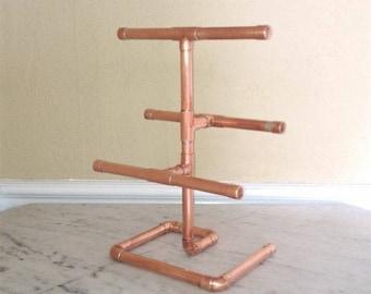 Industrial/minimalist copper jewelry stand