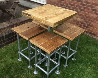 Industrial wooden pub/table set with stools