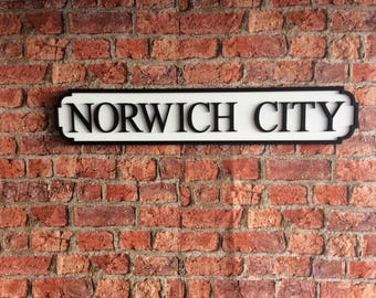 NORWICH CITY vintage wooden street road sign