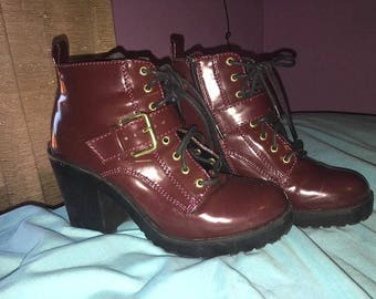 Burgundy Ankle fall boots