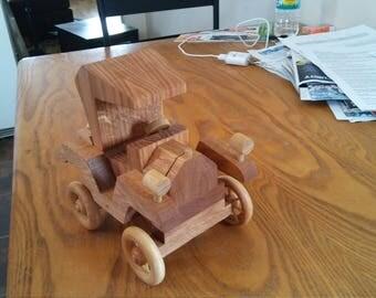 Oak wooden truck with spoke wheels