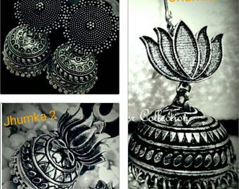 German Silver Jhumka,Oxidized Silver jhumka in different patterns, German Silver Metal earrings,Bollywood Earrings