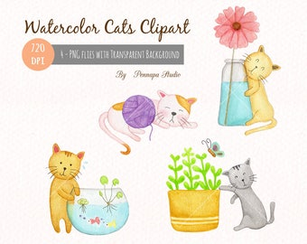 Lovely cats, hand painted watercolor clipart, digital download, 720 dpi