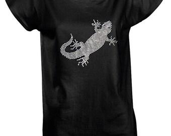 Woman T'shirt with strass (lizard design)