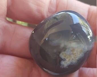 Blue Chalcedony B grade tumblestone approx 2.5x2cm (A)