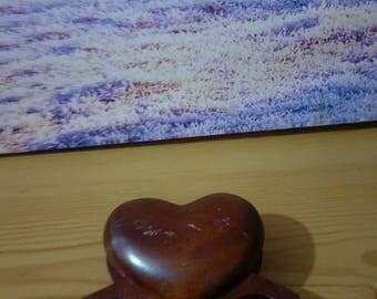 Heart  Ring  Box, Brown ring wooden box, Brown Jewellery box, vintage wooden jewellery box, old jewellery box