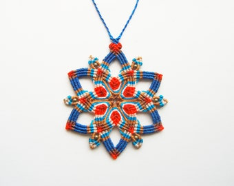 Mandala Enchanted Amulet. Star Hippie necklace macrame
