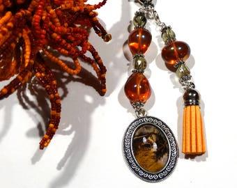 Bag charm key-orange Carnival tassel - gift idea for woman