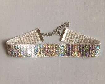 Holographic Sequin Choker