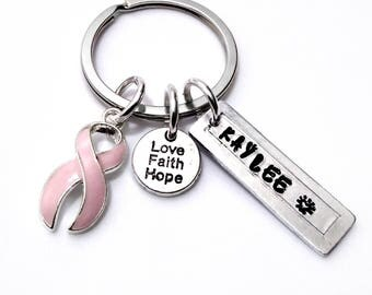 Personalized Breast Cancer Awareness Key Chain