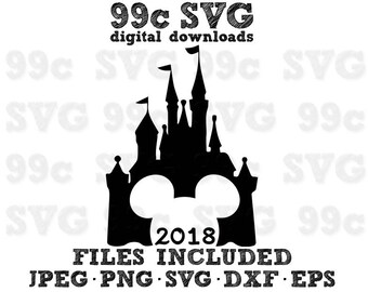 2018 Magic Castle Mickey Head SVG DXF Png Vector Cut File Cricut Design Silhouette Vinyl Decal Disney Party Template Iron On Heat Transfer