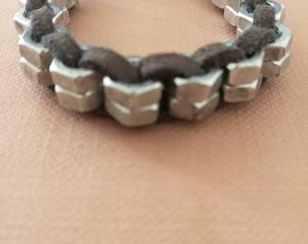 bracelet ,  metallic ,  nuts , handmade , suede cord