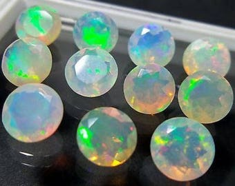 Top Welo Fire Ethiopian Opal 2mm Round Cut 25Pc Loose Gemstone For Jewelry