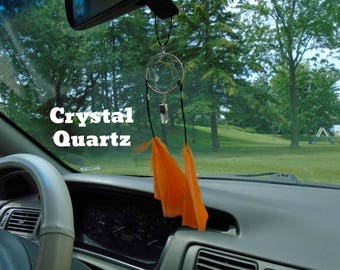 Crystal Quartz dream catcher for your rear view mirror or interior window,Focus your mind, Protect against negatives energy, Infused w Reiki